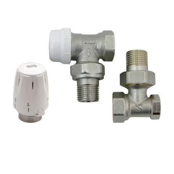 Radiaatori ventiilide komplekt põlvega ½  koos termopeaga