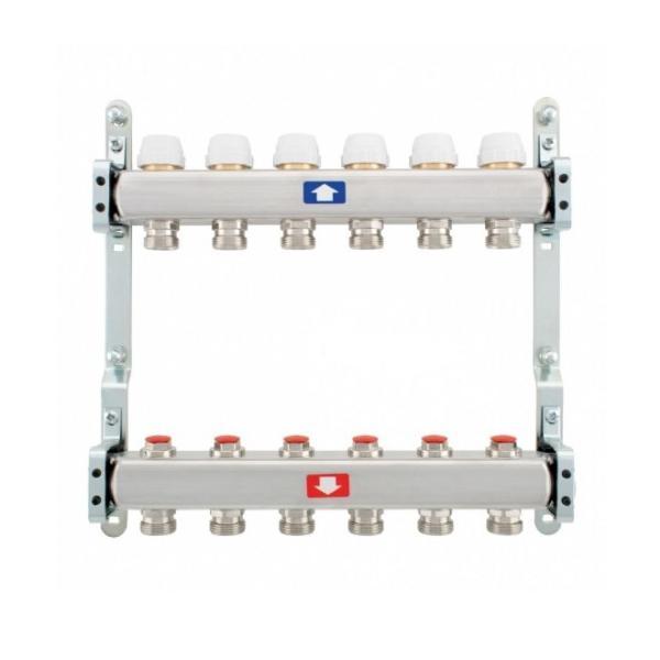 Kollektor r/v 1 ss põrandaküttele 8-ne, flotomeetritega, ¾ eurocoonuse ühendusega