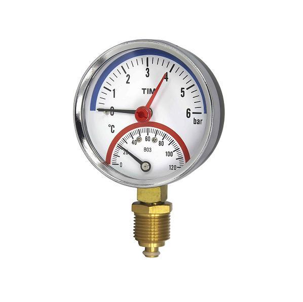 Termo-manomeeter 80mm 0-4Bar 120°C ½ alt ühendusega sulgurklapiga