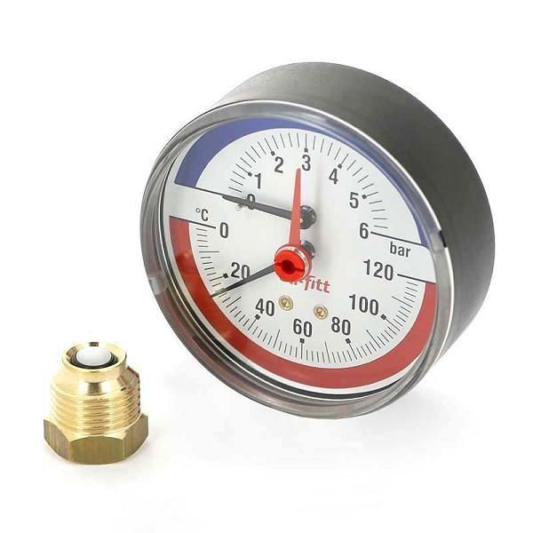 Termo-manomeeter 80mm 0-4Bar 120°C ½ tagant sulgurklapiga