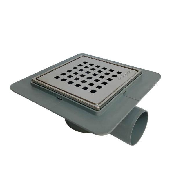 Põranda trapp roostevaba kaanega 15 x 15cm Ø50mm horisontaalse äravooluga kuiva haisulukuga