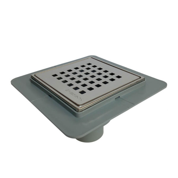 Põranda trapp roostevaba kaanega 15 x 15cm Ø50mm vertikaalse äravooluga kuiva haisulukuga